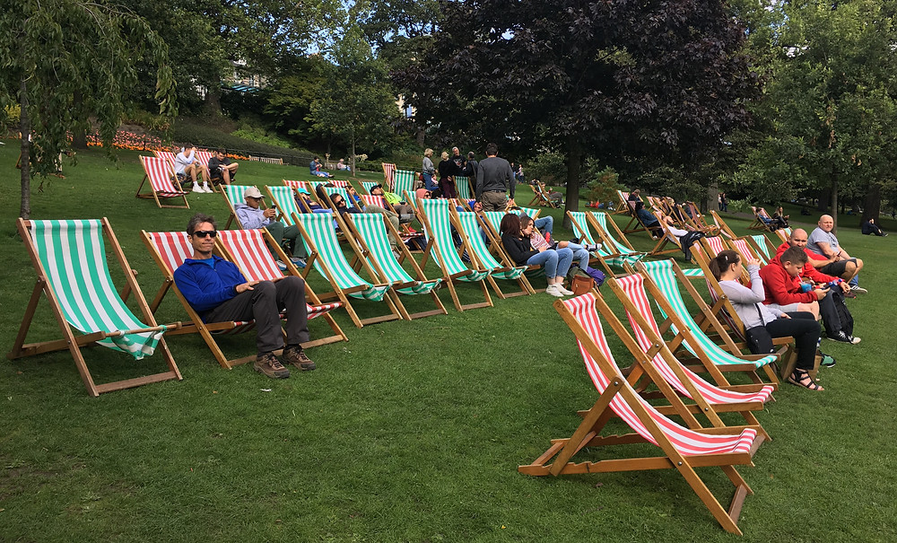 Scotland lounging chairs at Princess Street Gardens