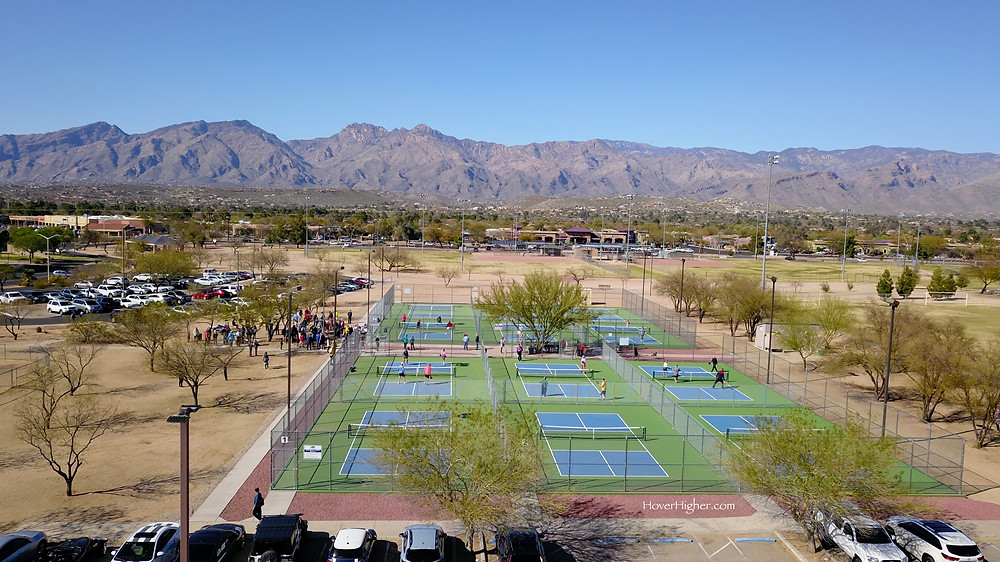 Aerial view drone shot Grand opening ceremony of pickleball courts at Udall Park in Tucson, AZ