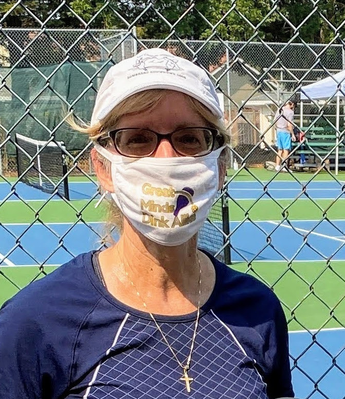 "Coronavirus Covid-19 Mask with Pickleball Slogan ""Great Minds Dink Alike"""