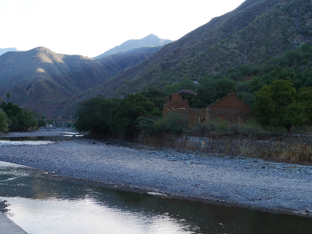 Batopilas river, Chihuahua, Mexico beautiful view of the bridge and mountains