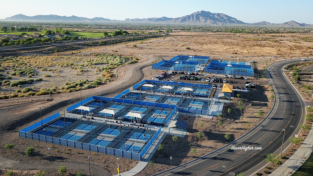 Gilbert, AZ, drone, photography, videography, pickleball, sports, courts, HoverHigher, Coffeys2Go, photo, shot, business