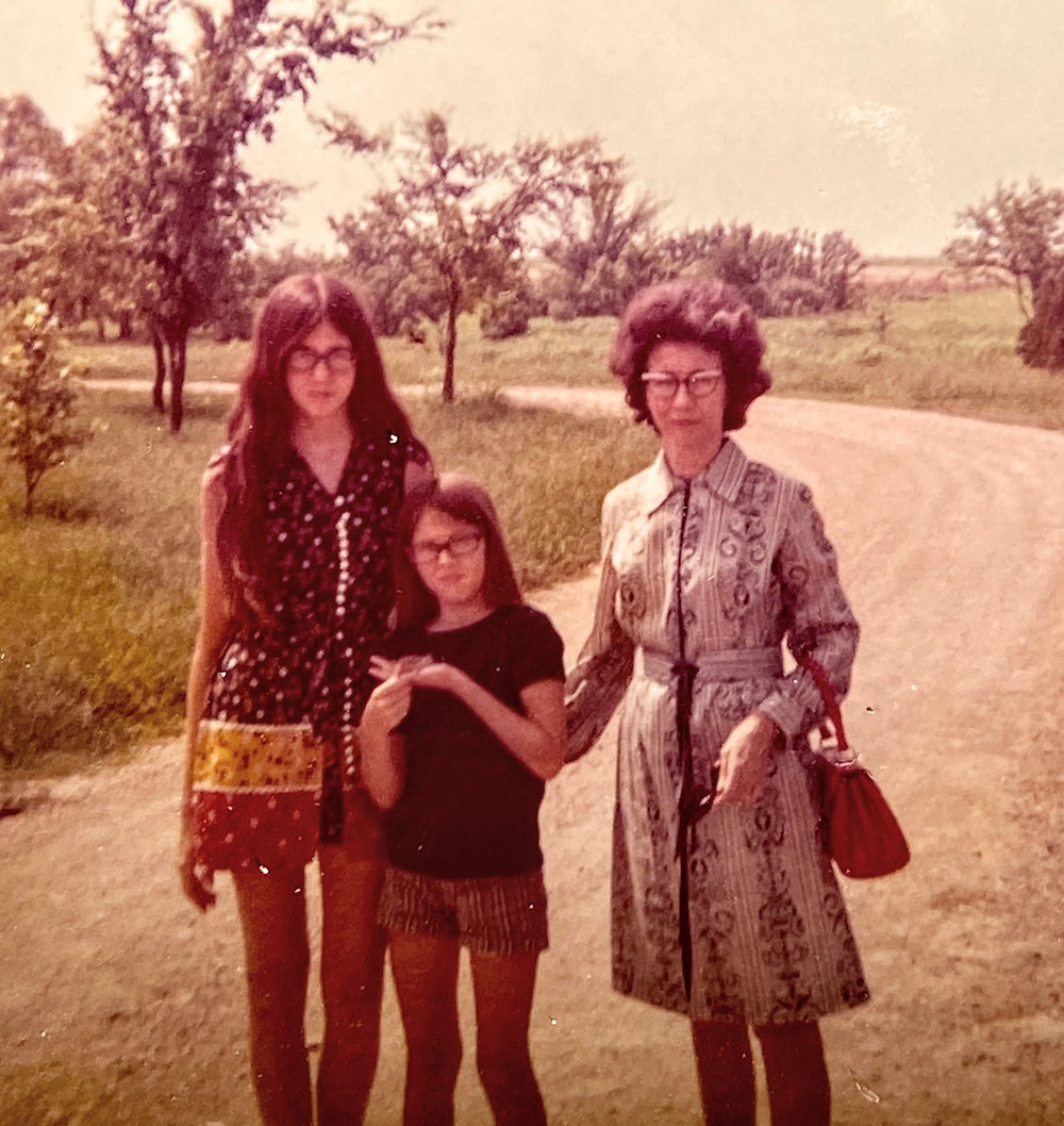 Historic photo circa 1970 Mother with two daughters one holding a horned toad in Texas