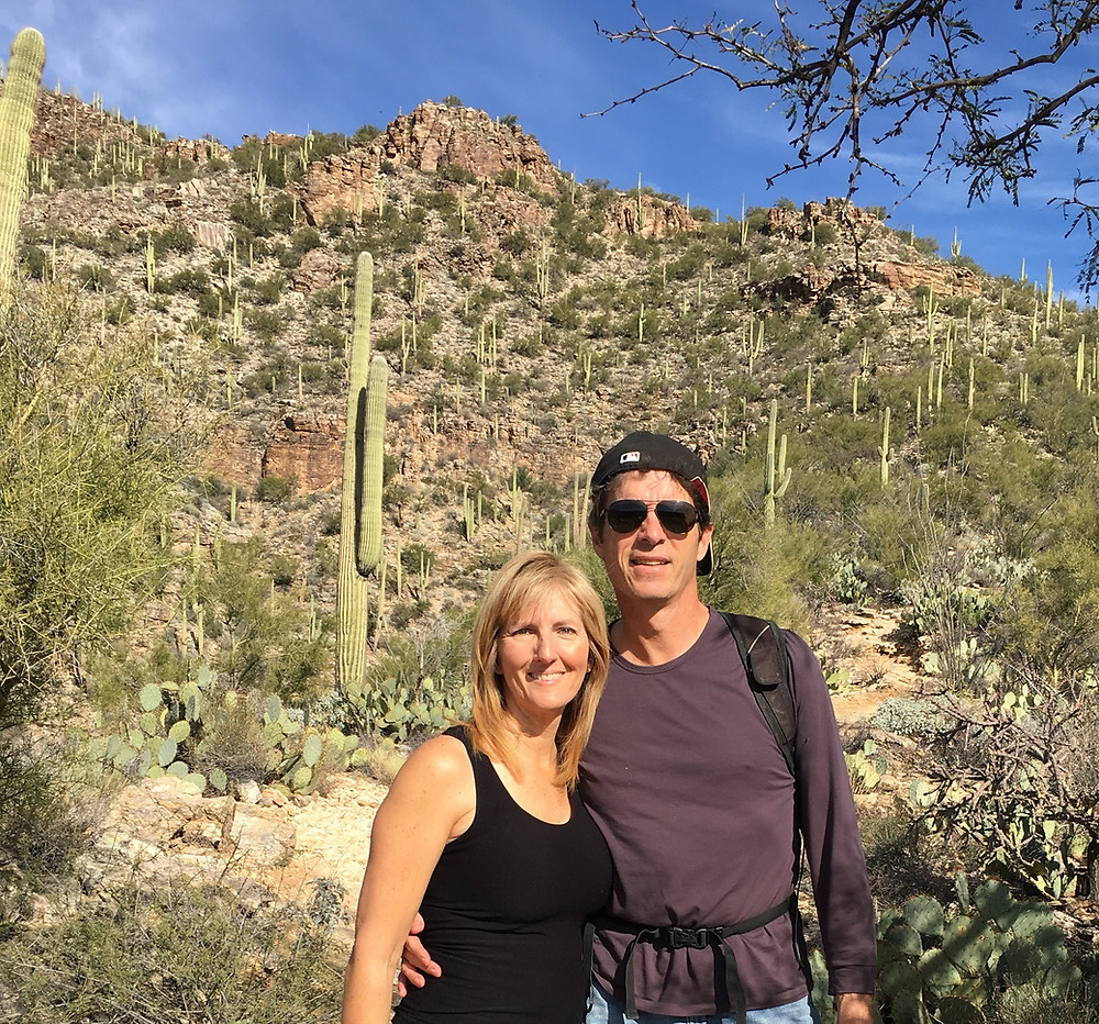 2.4.16 B & K hiking in Sabino soon after Ky's accident.JPG