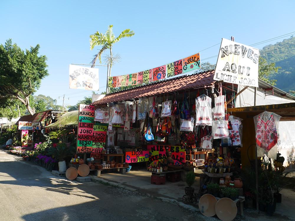 Tamosopo roadside vendors Mexico