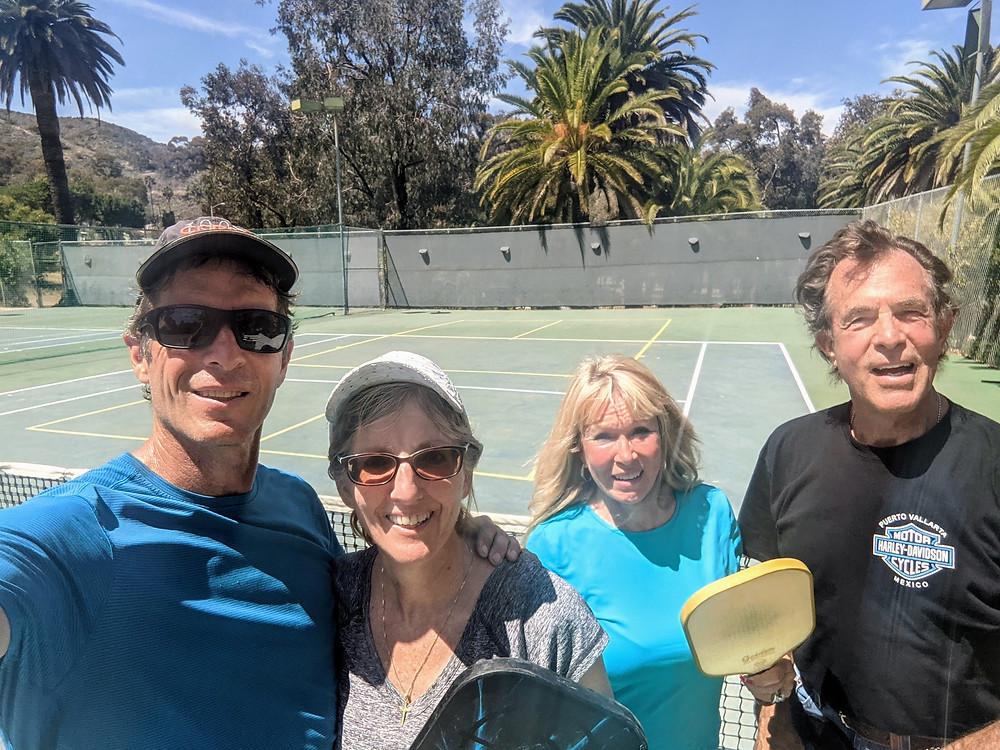 Friends on pickleball court on Catalina Island, CA
