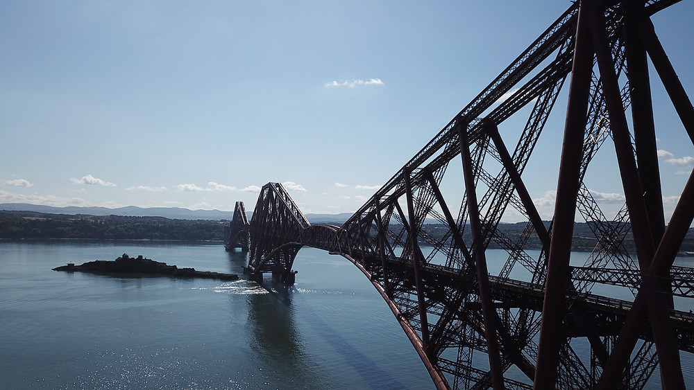 North Queensferry train bridge hoverhigher aerial photography drone view