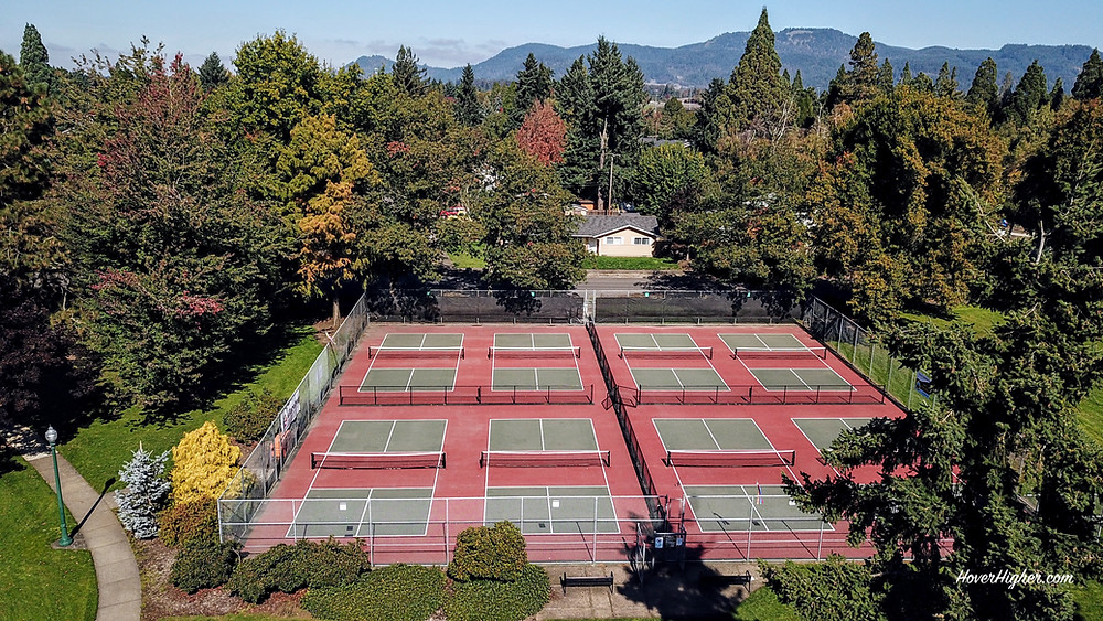 Springfield OR  Meadow Park Outdoor Pickleball Courts HoverHigher.com Drone photo shot