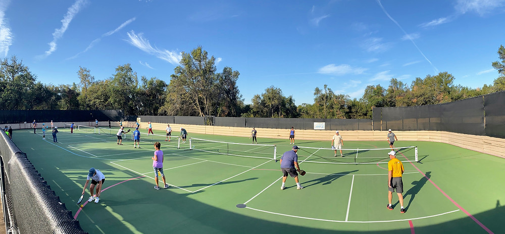 Redding CA Enterprise Park Outdoor Pickleball Courts Friends HoverHigher.com Drone Photo Shot Photography