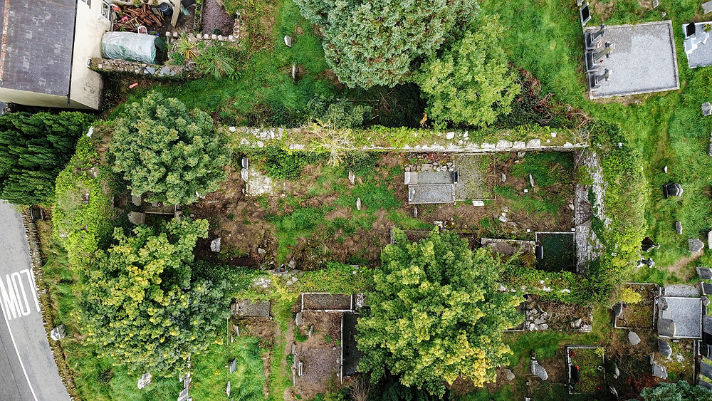 Ruins Remains of Saint Mary's RC Church Ireland Drone photography aerial view HoverHigher