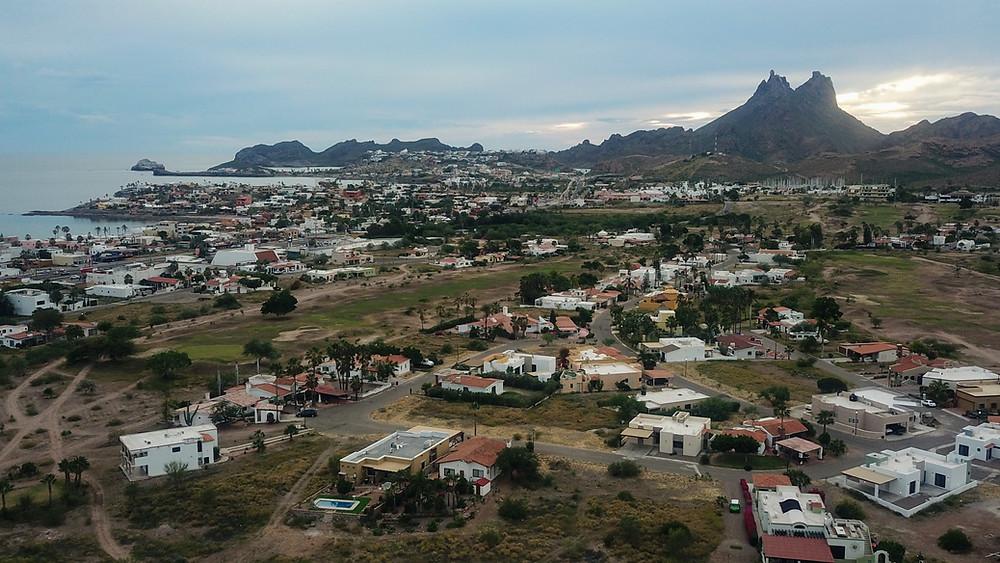 Nuevo San Carlos Mexico Aerial View Drone HoverHigher