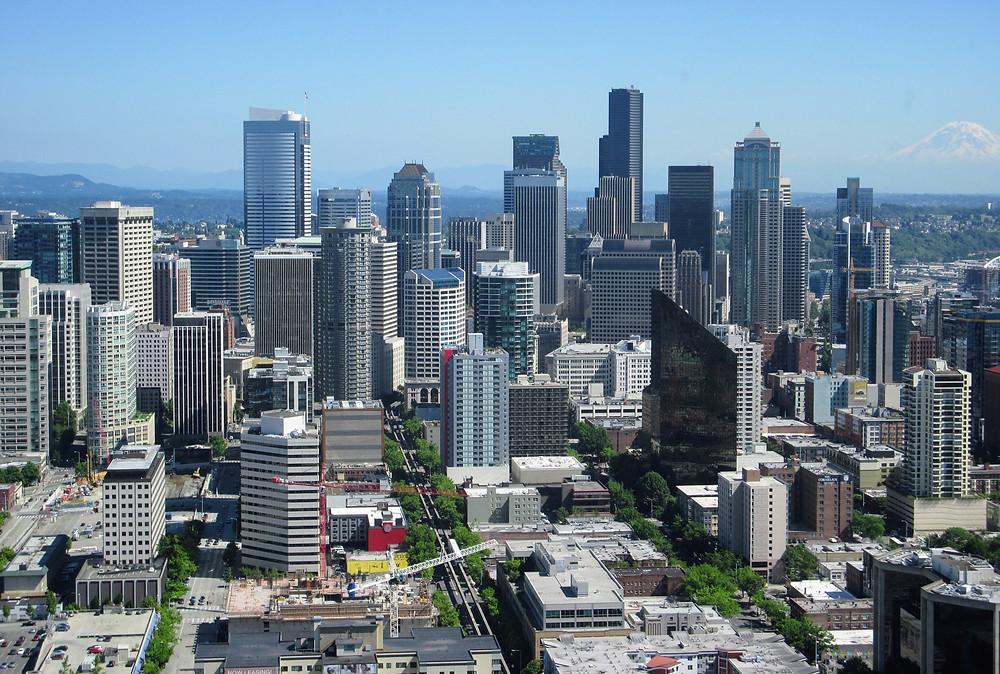 Seattle downtown area Mt St Helens Washington