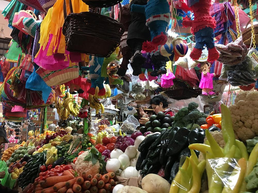Matehuala, San Luis Potosi market colorful fruit vendor