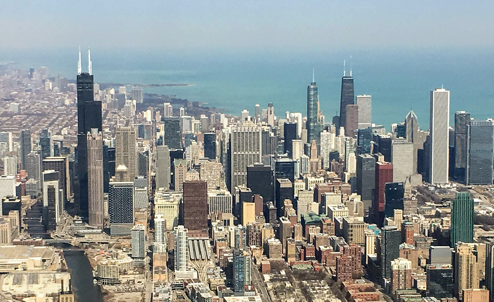 Aerial view of Chicago city skyline