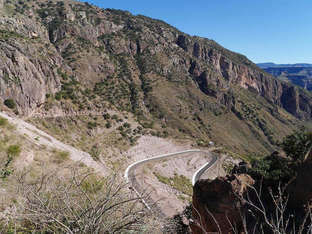 Mountain roads to Batopilas, Chihuahua, Mexico winding path