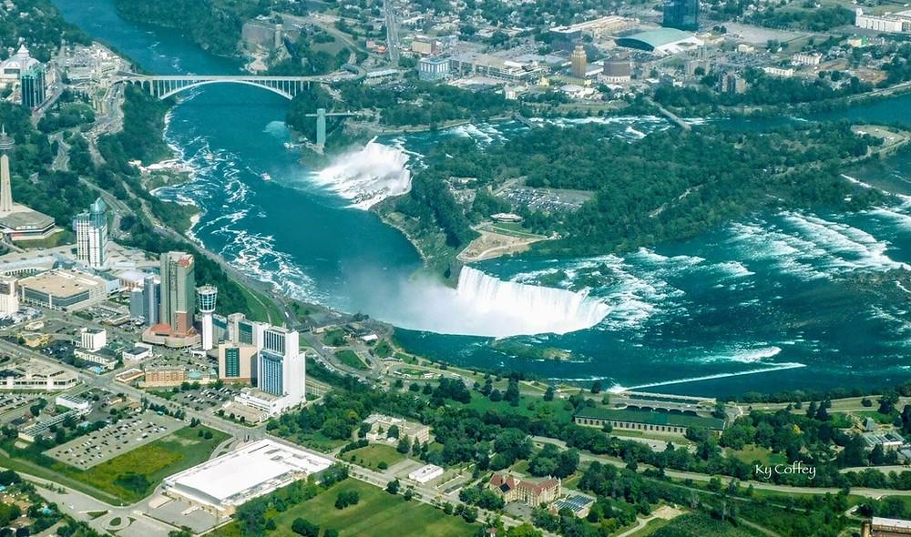 Niagara Falls Aviation Flying 3500' Pilot Bonnie Coffey HoverHigher Coffeys2Go, waterfall, view, aerial, photo, shot