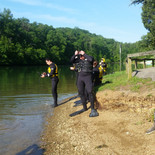 Rescue Swimmer candidates preparing to enter the water.