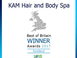 KAM HAIR & BODY SPA ANNOUNCED AS WINNER OF THE SCOTTISH CATEGORY FOR THE BEST OF BRITAIN AWARDS