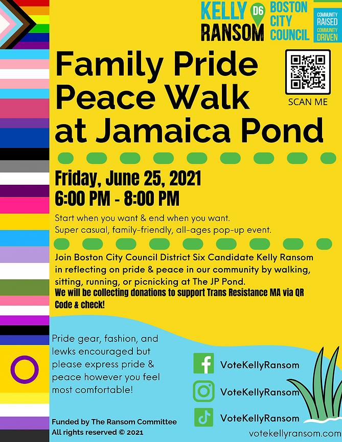 Family Pride Peace Walk at Jamaica Pond.