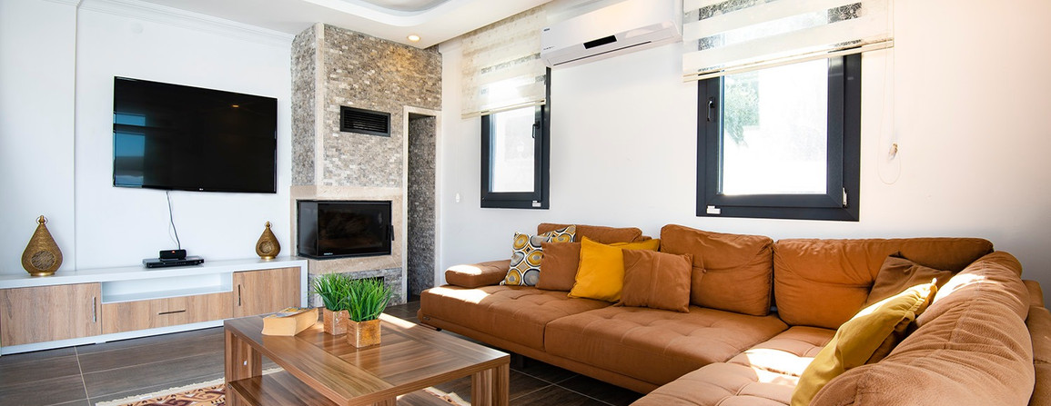 Lounge with fire and aircon