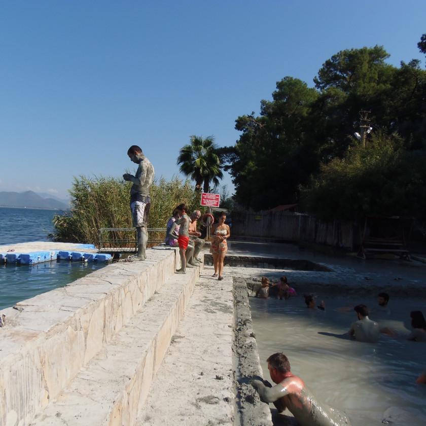 Platform to jump in the lake mud bath