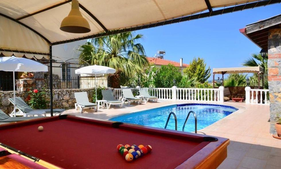 Poolside pool table