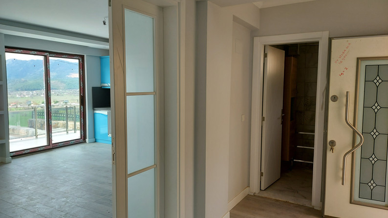 Double doors into living area