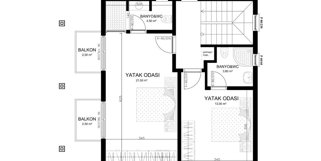 First floor with dimensions