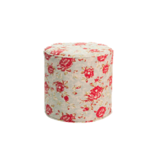 Teal Floral Slipcover Ottoman $40