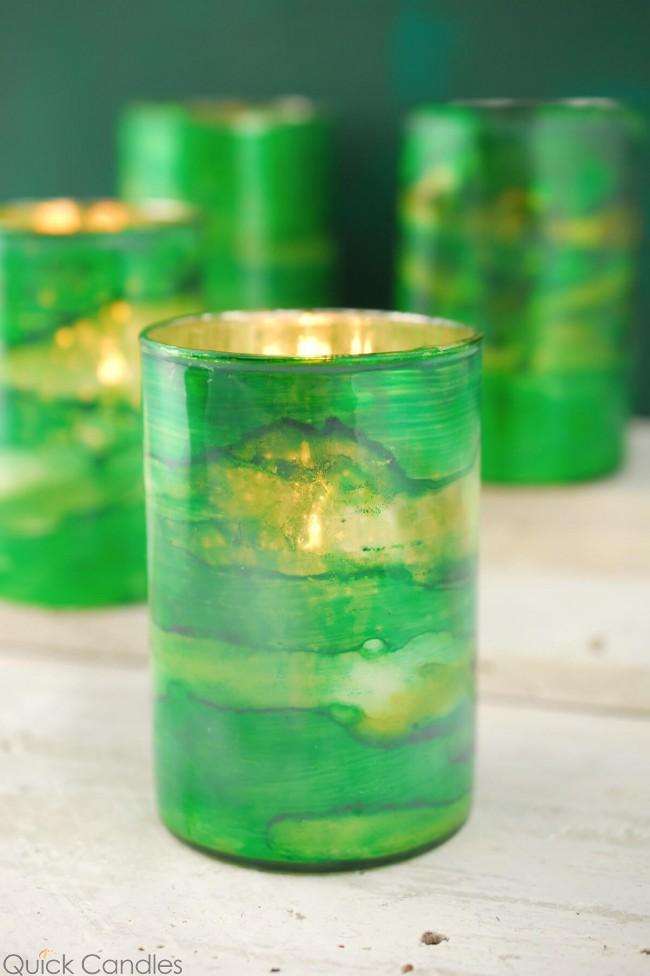 Green Glass Votive $1