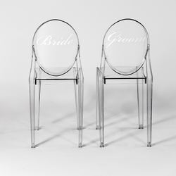 Bride and Groom Clear Chairs $18