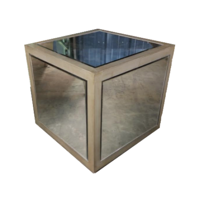 Silver Frame Mirror Side Table