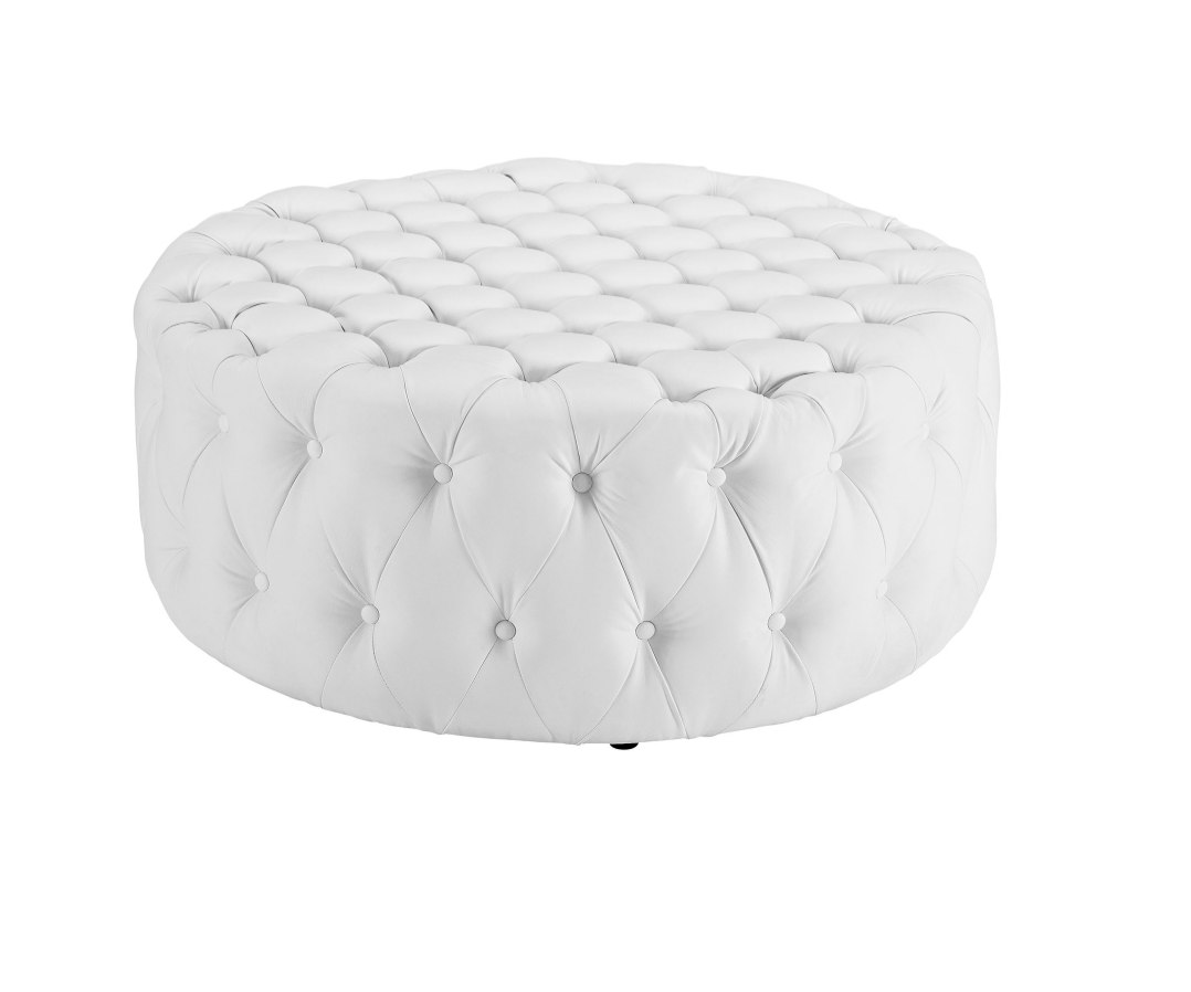 Large Rd White Ottoman - $110