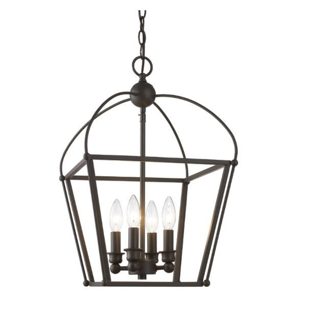 Black 4-Light Lantern Chandelier