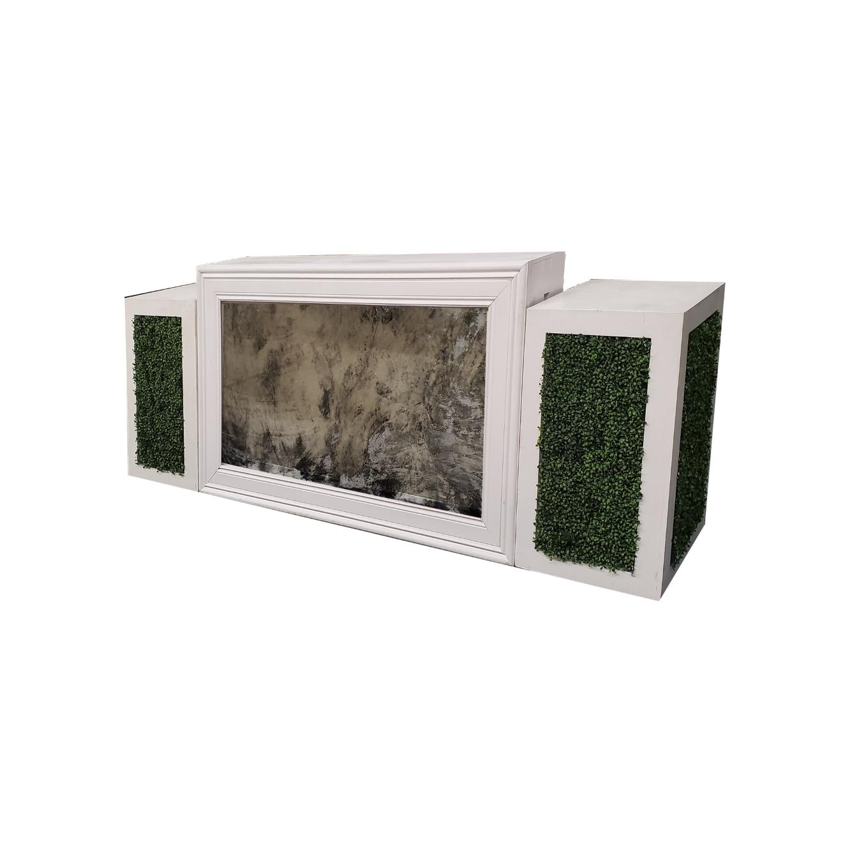 White Frame/Vintage Mirror with Hedge Pedestals $350