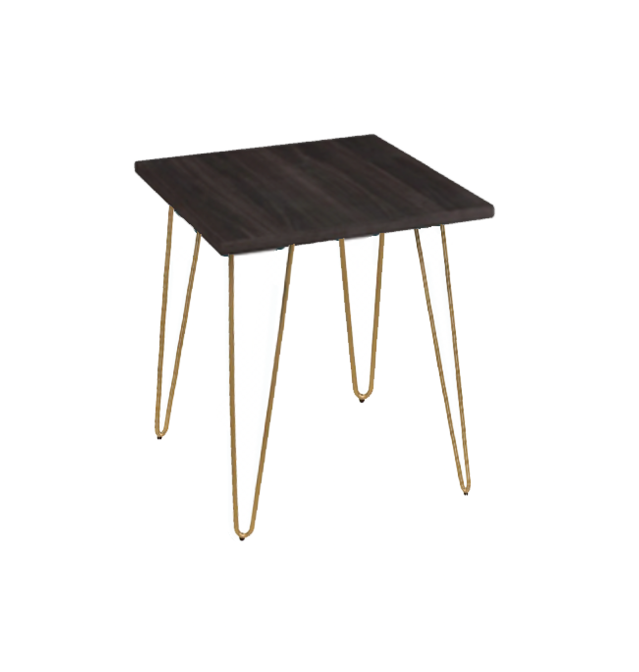 Wood Top/Gold Leg Retro Table Side Table