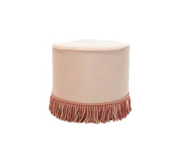 Pink Fringe Ottoman - $40
