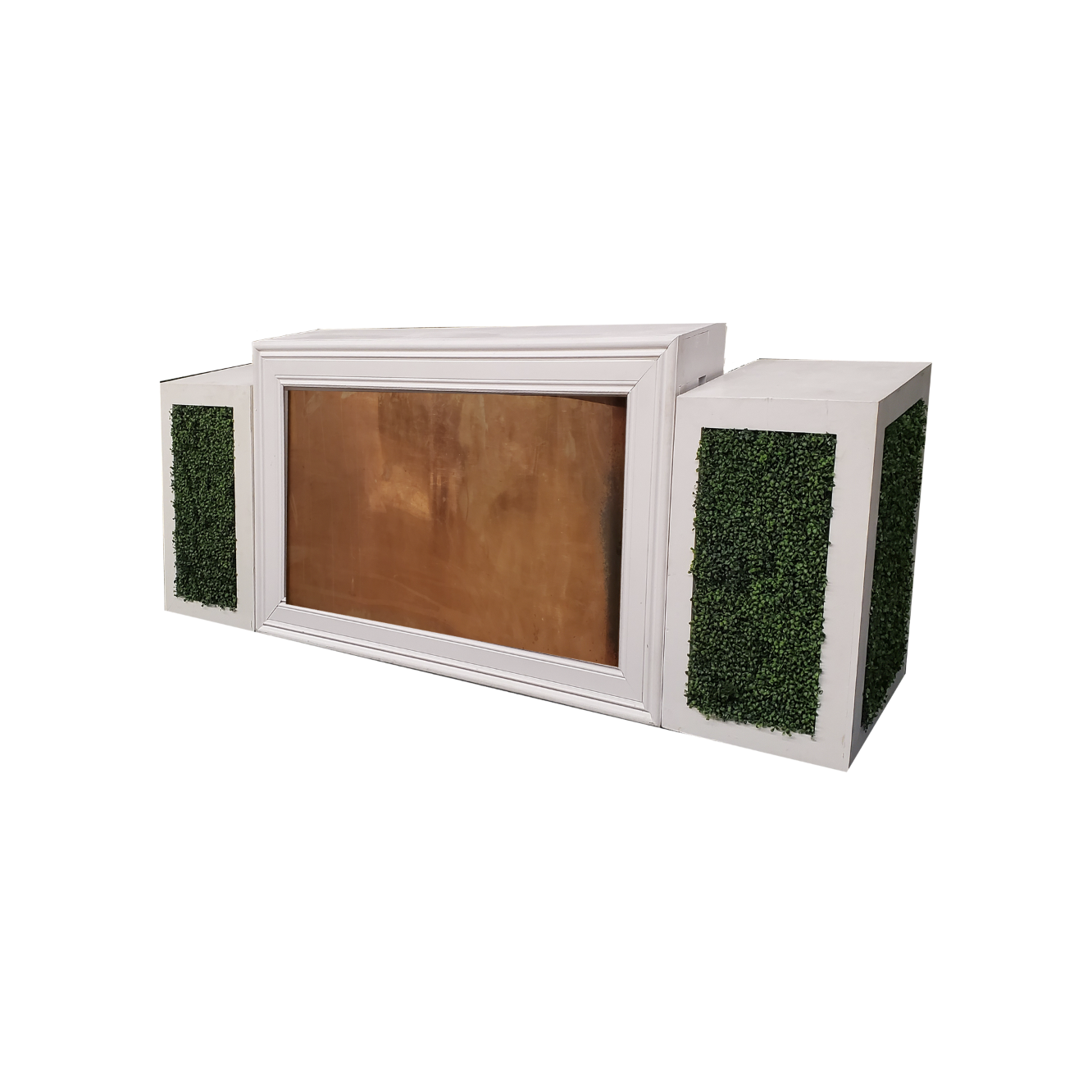 White Frame/Copper Insert with Hedge Pedestals $350