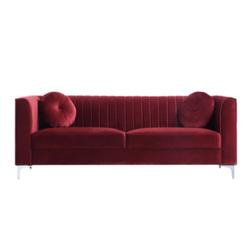 Ciara Red Velvet Sofa