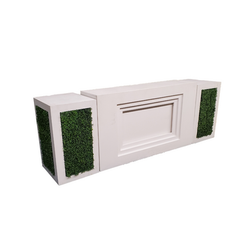 Modern Straight White Bar with Hedge Pedestals