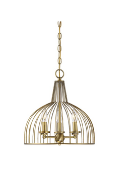 3-Light Gold Cage Lantern