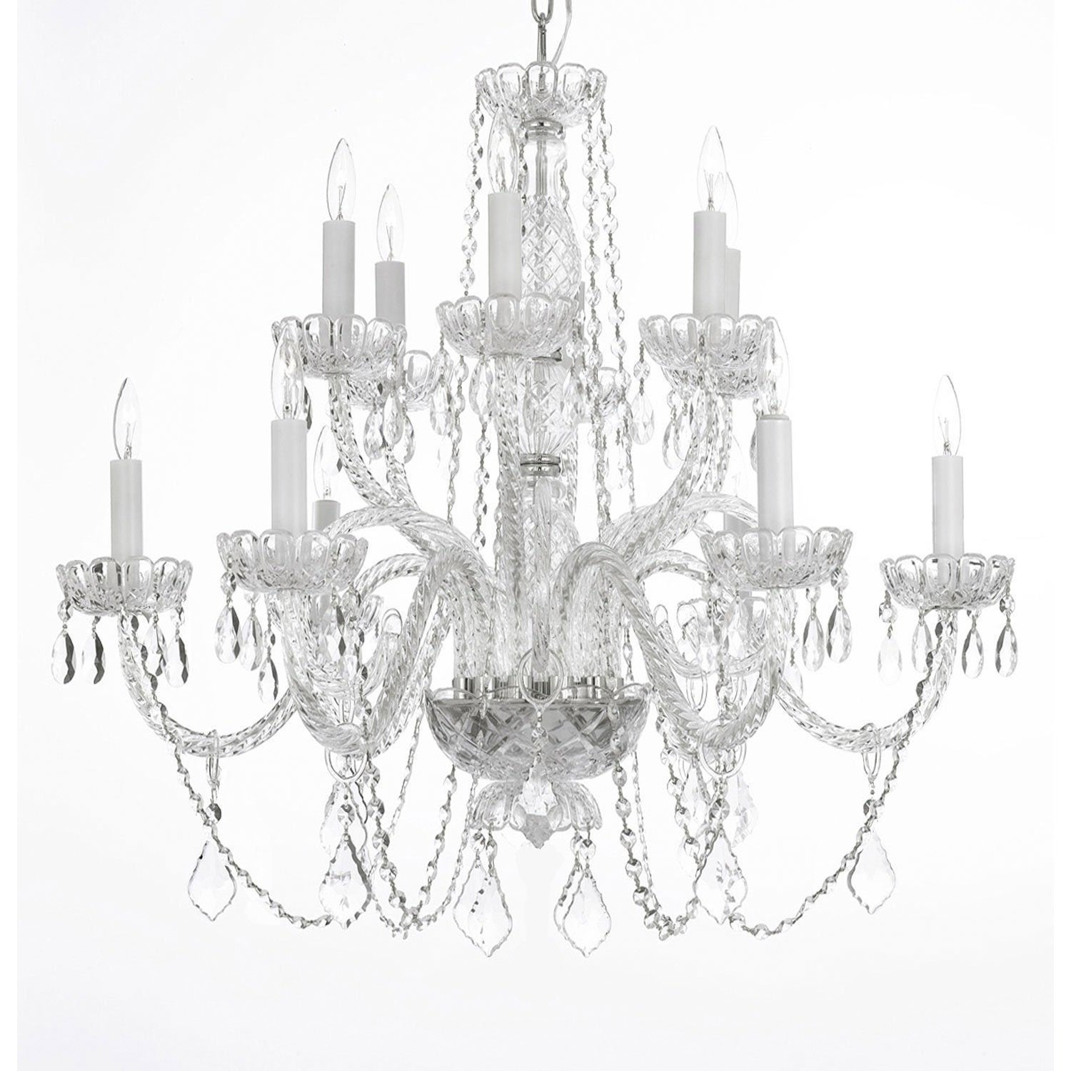 12-Light Large Crystal Chandelier $250