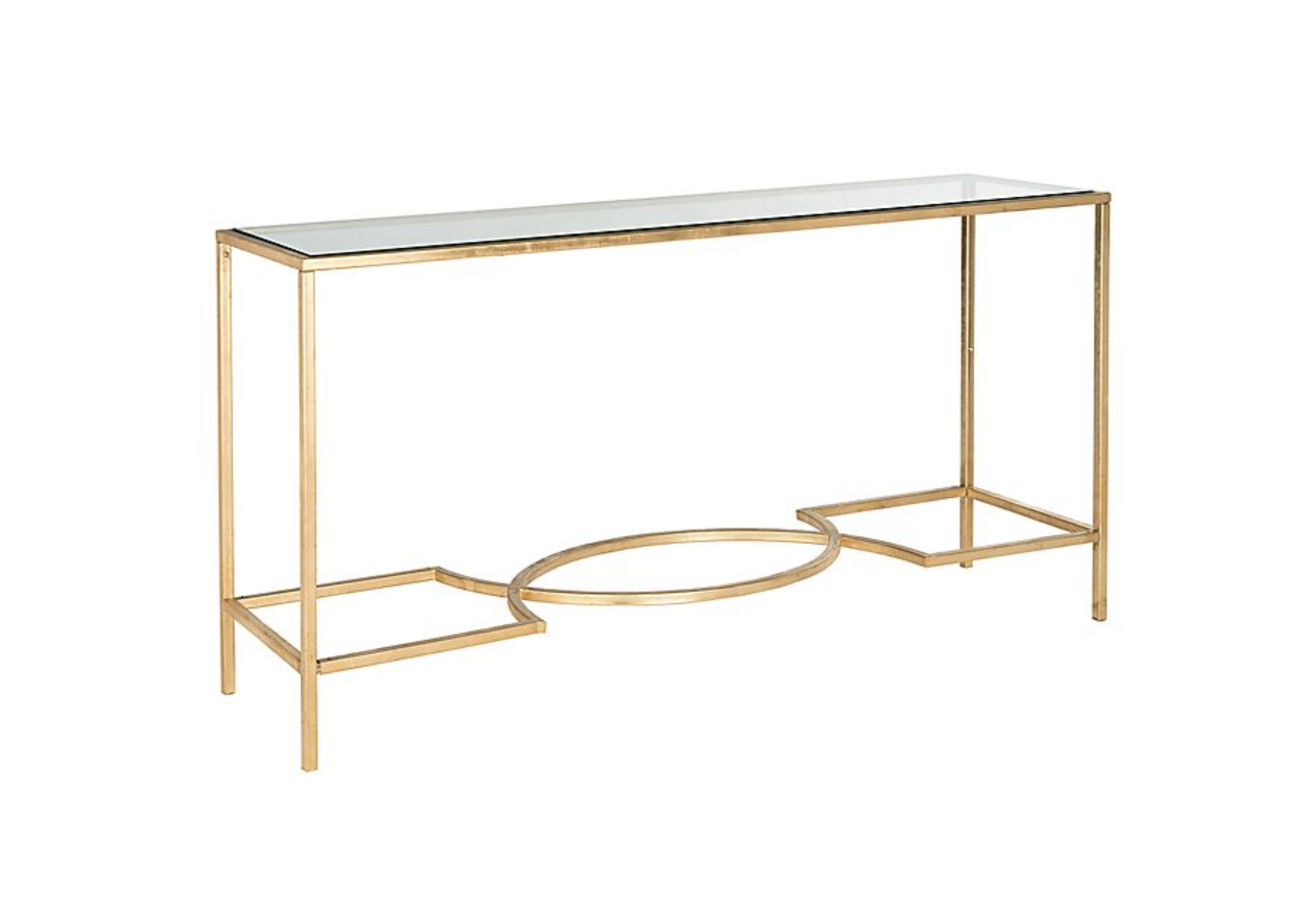 Gold Sofa/Console Table Metal and Glass
