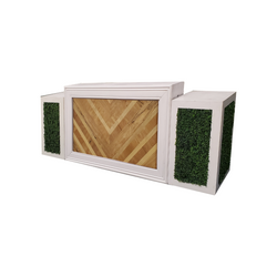 White Frame/Herringbone Insert with Hedge Pedestals $350