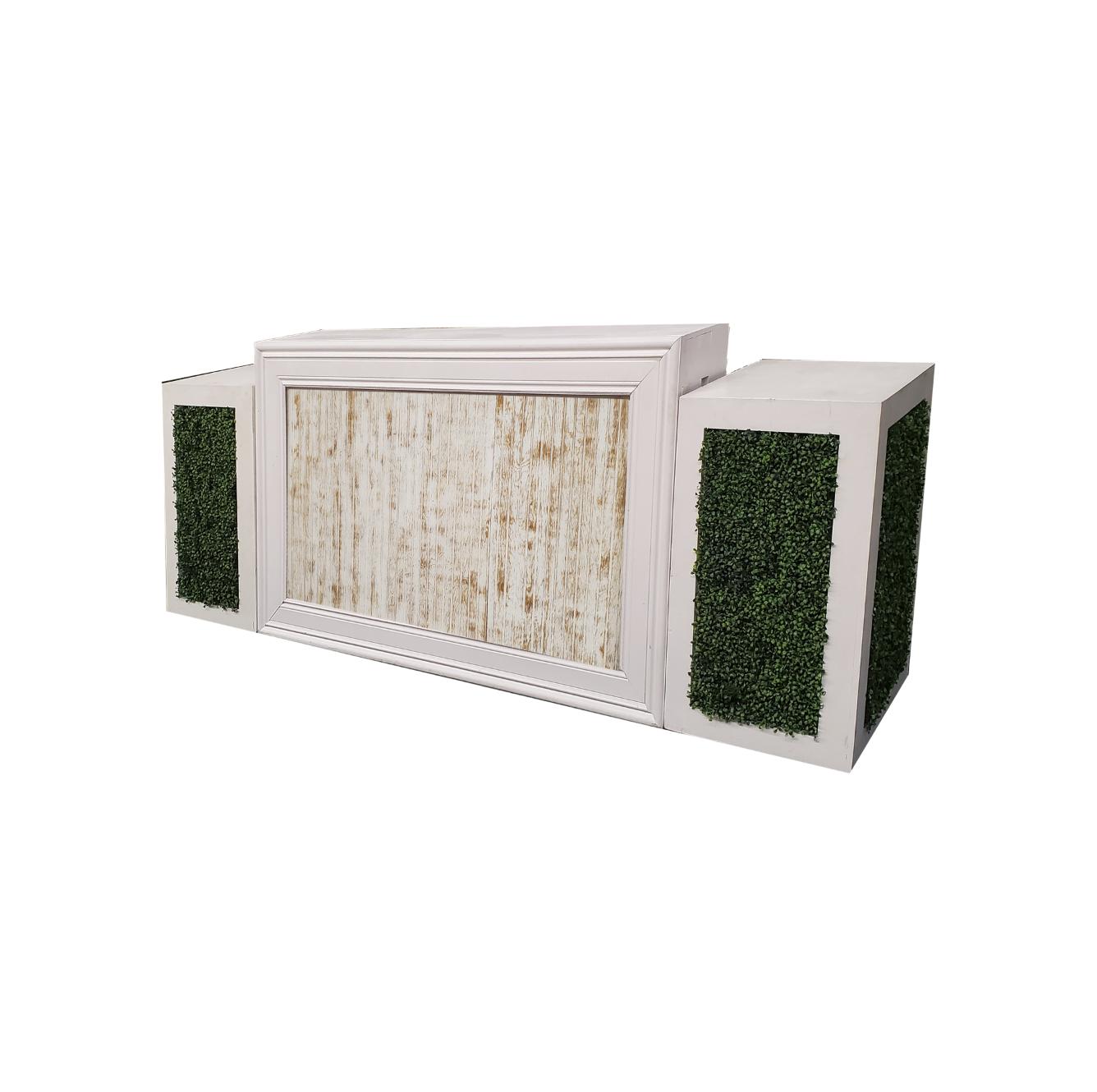 White Frame/Whitewash Insert with Hedge Pedestals $350