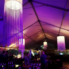 Fun chandeliers at Highlands Food and Wine