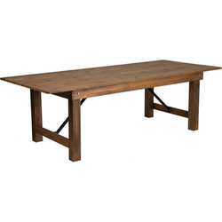 8' X 40'' Antique Rustic Solid Pine Folding Farm Table