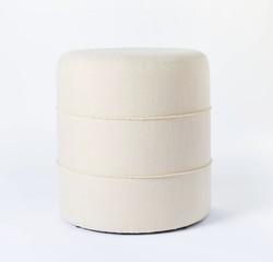 Ivory Round Ottoman