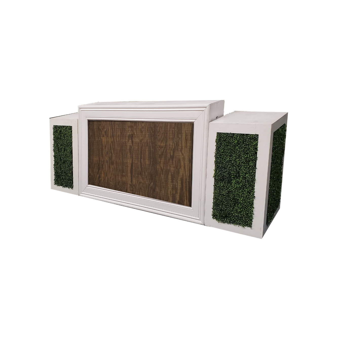 White Frame/Mahogany Insert with Hedge Pedestals $350