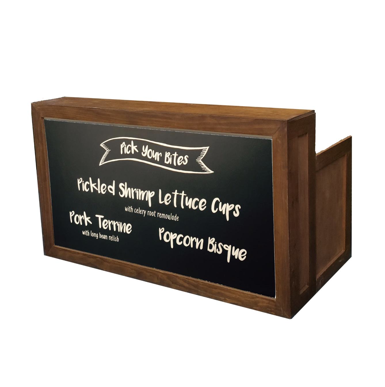 Wood Frame Bar/Chalkboard $200