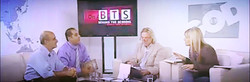 """Pastor Steven Khoury sitting with the hosts of the show """"Behind the Screens""""."""